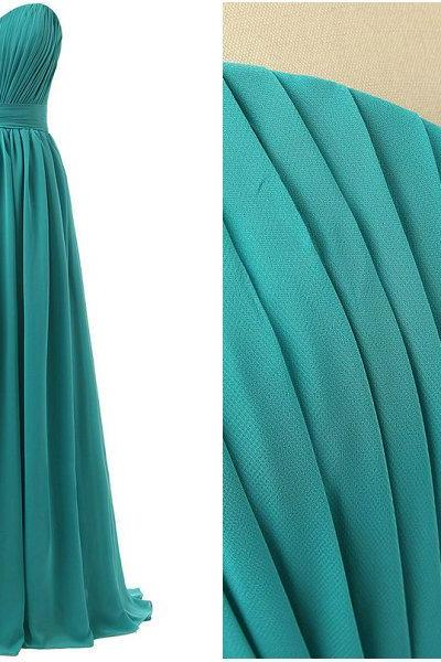 Custom Made Chiffon Bridesmaid Dresses, Long Bridesmaid Dress, Formal Dress, Sweetheart Bridesmaid Dress, Dress For Bridesmaid, Pretty Turquoise Bridesmaid Dress
