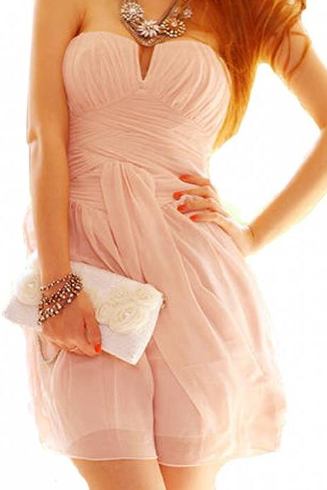 Pink Strapless Cocktail Dress,Homecoming dresses, mother dress,Quinceanera Dresses