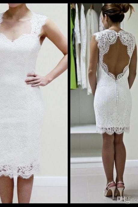 Lace Wedding Dress, With Scalloped Keyhole And Sweetheart Neckline Custom Made Short Wedding Dress, Reception Dress