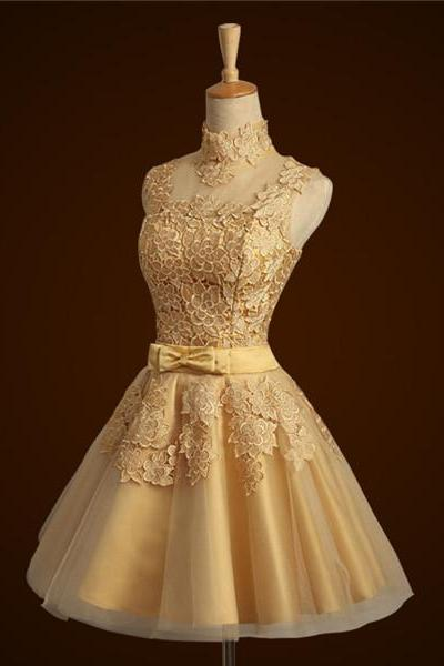 Short Lace Gold Bridesmaid Dress For Weddings High Neck Sleeveless Sheer Back Women Formal Dress Prom Dress Custom Made