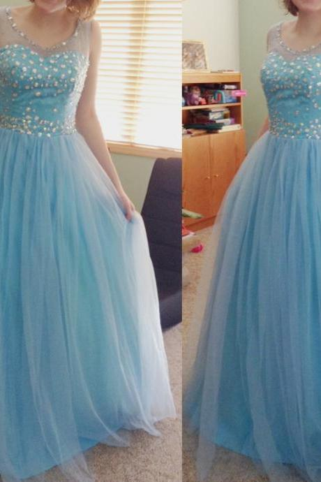Prom Dress O-Neck Prom Dress, A-Line Prom Dress, Sequined Prom Dress ,Tulle Prom Dress, Girl's Graduation Dress