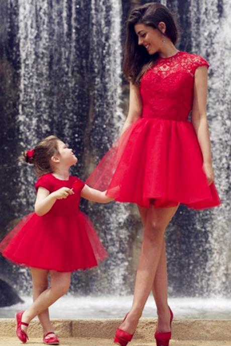 Red Tulle Charming Prom Dresses, Short/Mini Evening Dresses, Prom Dresses, Real Made Prom Dresses