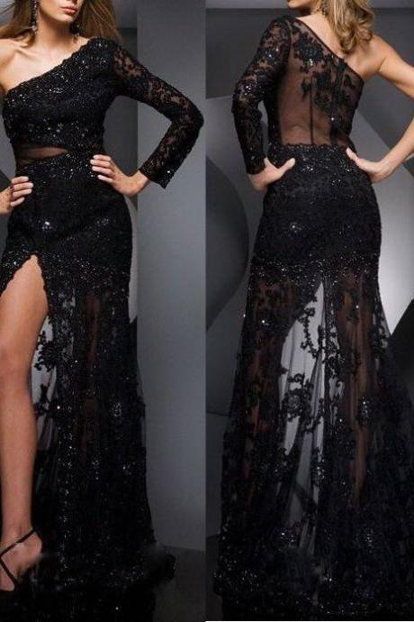 New Black One Shoulder Long Sleeve Prom Dresses, Sexy Split Side Floor Length Backless Evening Women Gown, Aplique Long Fashionable Prom Dress