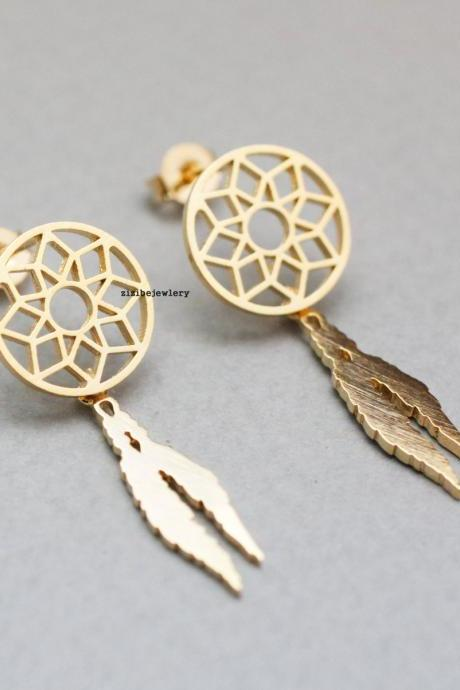 Dreamcatcher Earrings, Dream Catcher Boho with Feathers Earrings in 2 colors, E0762G