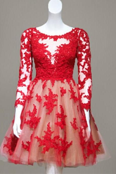 Red Lace Short Homecoming / Prom Dress With Long Sleeves Sheer Back Tulle Knee Length Teens Formal Party Dress Custom Made