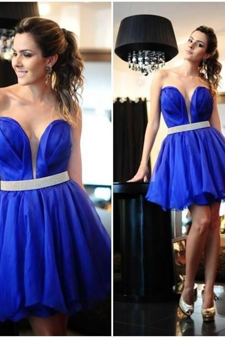 Royal Blue Short Prom Dresses, Cheap 2016 Vestidos Sexy Sweetheart Mini Cocktail Party Gowns, Junior Homecoming Dress,