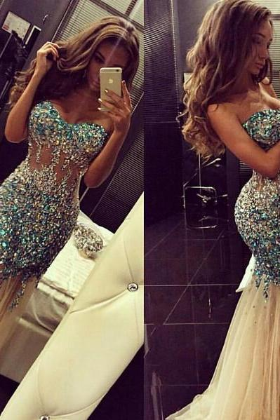 Strapless Beading Gorgeous Long Prom Dress Women Mermaid Party Dresses for Evening