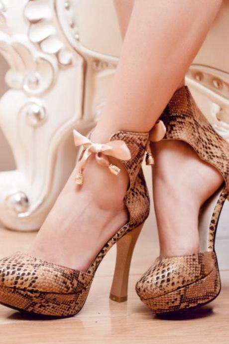 Classy Snake Pattern High Heels Fashion Shoes With Bow