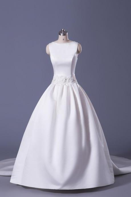 Soft Satin Ball Gown Wedding Dress With Detachable Train Floor Length Laced-up Back Bridal Gown Custom Made