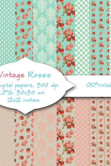 Vintage Roses, Turquoise / rose pink/ Digital Background, Scrapbook Paper, Printable Paper, Web Design