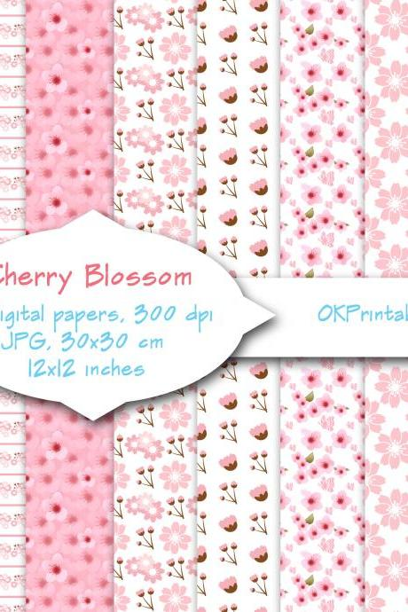 Cherry blossom pattern, Digital Background, Scrapbook Paper, Printable Paper, Web Design