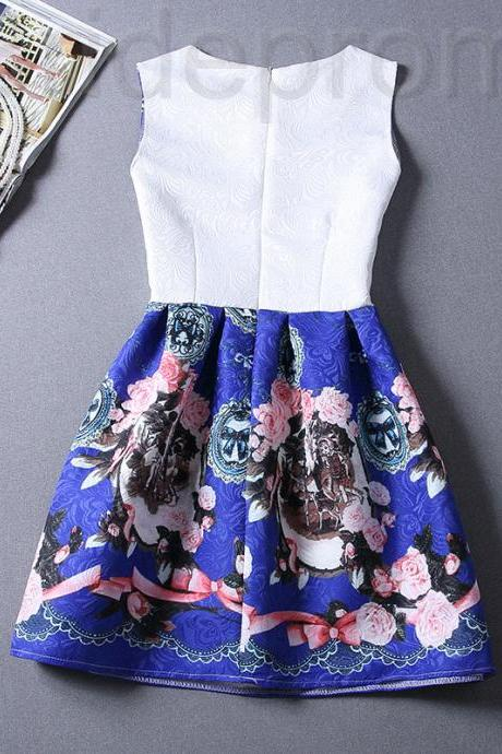 Short Retro Printing Patterns Women's Clothing Sleeveless Casual Dress YHD2-3 Size S M L XL