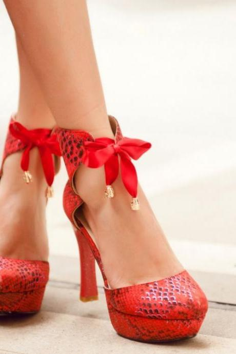 Red High Heels Ankle Strap Fashion Shoes With Bow
