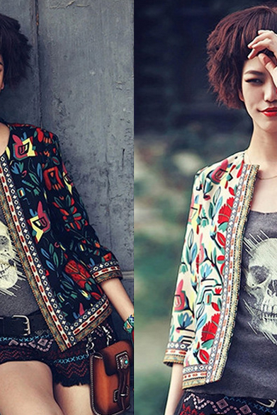 Fashion Printed Cardigan Coat