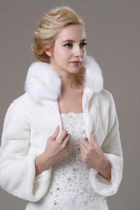 White Artificial Fur Bolero With Long Sleeves Women Faux Fur Winter Coat For Wedding Bridal Wedding Jacket