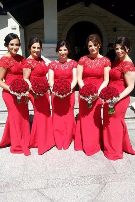 Ph07277 Bridesmaid Dresses,Red Bridesmaid Dresses, Chiffon Bridesmaid Dresses,Backless Bridesmaid Dresses,Mermaid Bridesmaid Dresses,Lace Dress