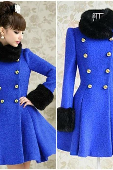 Gorgeous Faux Fur Design Blue Woolen Dress Pattern Coats