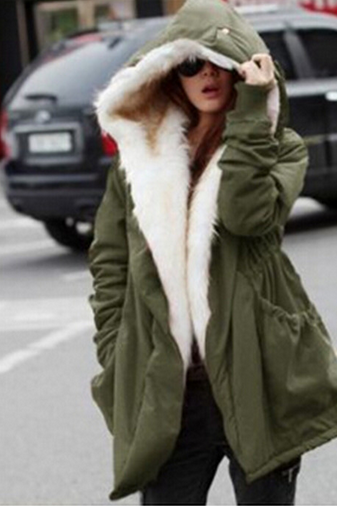 Fashion pure color hooded coat 7506138
