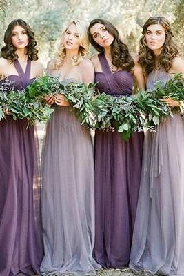 long bridesmaid dress, purple bridesmaid dress, convertible bridesmaid dress, cheap bridesmaid dress, tulle bridesmaid dress, 14619