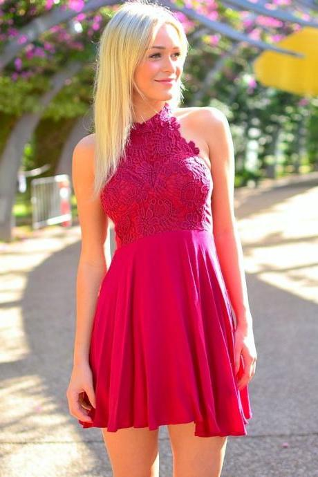 Hot Pink Floral Lace Halter Neck Short Chiffon Skater Dress, Homecoming Dress