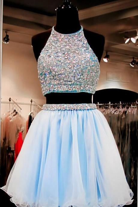 Custom Made Two-Piece Crystal Beading Embroidered Tulle Evening Dress, Homecoming Dresses, Graduation Dresses