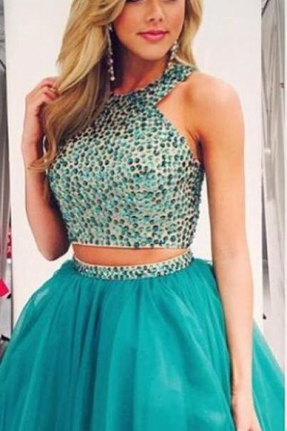 Turquoise Homecoming Dress,Tulle Homecoming Dresses,2 Piece Homecoming Dress,,2 Pieces Party Dress,Short Prom Gown,Sweet 16 Dress,Beaded Homecoming Gowns