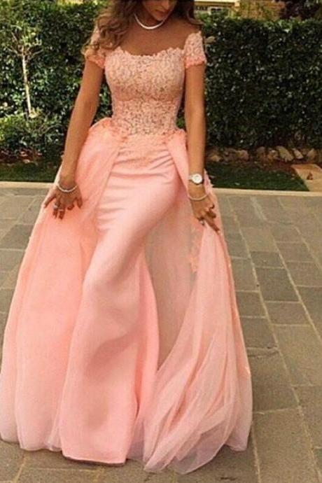 Pearl Pink Prom Dresses,Mermaid Prom Gowns,Lace Prom Dresses,Long Prom Dresses,Tulle Prom Gown,2016 Prom Dress With Cap Sleeves For Teens