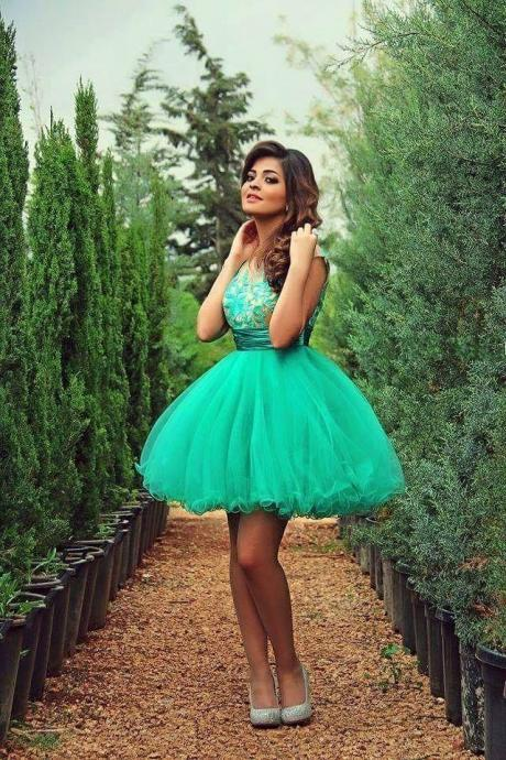 Light Turquoise Homecoming Dress,Tulle Homecoming Dresses,Ball Gown Homecoming Dress,Lace Party Dress,Short Prom Gown,Sweet 16 Dress,Cap Sleeves Homecoming Gowns