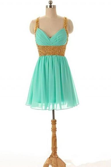 Sweetheart Mini Short Sequin Sexy Turquoise Blue Chiffon Prom Dresses ,2016 Cheap Junior Formal Dresses ,Short Homecoming Dresses, Wedding Party Dresses
