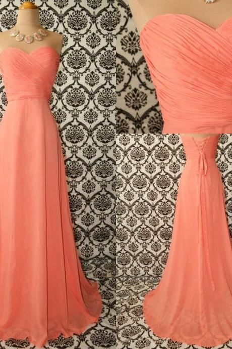 Custom Made Peach Long Chiffon Prom Dresses, Evening Dresses, Party Dresses, Bridesmaid Dresses, Formal Dresses, Prom Gown
