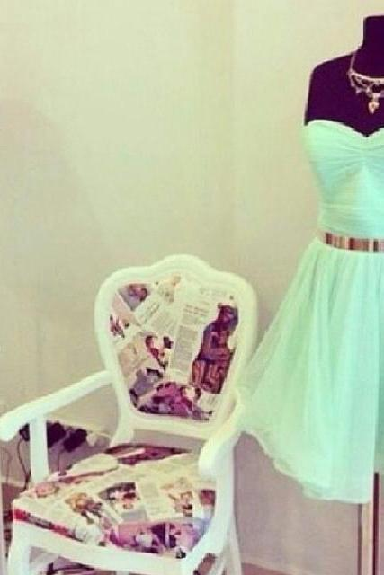 Sweet Mint Green Knee Length Chiffon Prom Dresses, Mint Green Evening Dress, Occasion Dresses