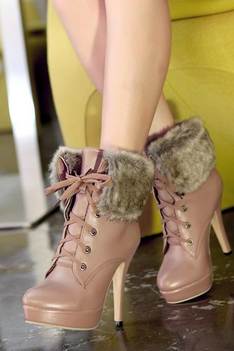 High Heel Platform PU Leather Fur Autumn Winter Lace Up Ankle Boots Waterproof Women Shoes