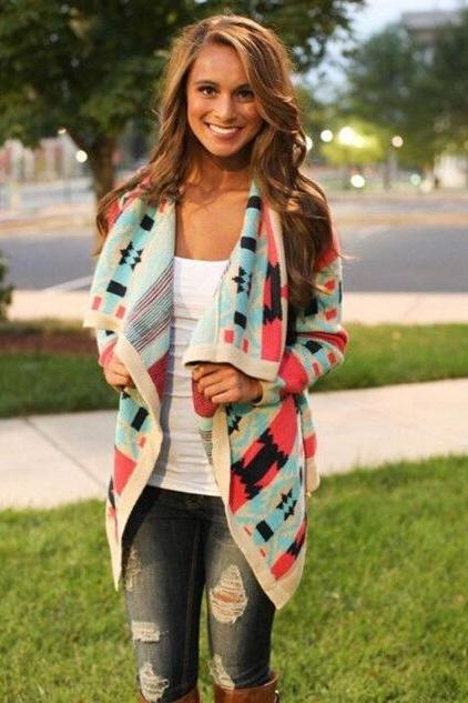 HOT COLORFUL FASHION CARDIGAN COAT