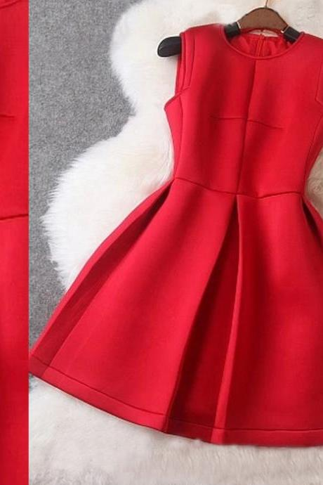 Fashion Sequined Sleeveless Red Dress For Autumn&Winter