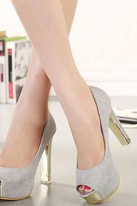 Sexy Metallic Peep Toe High Heels Pumps
