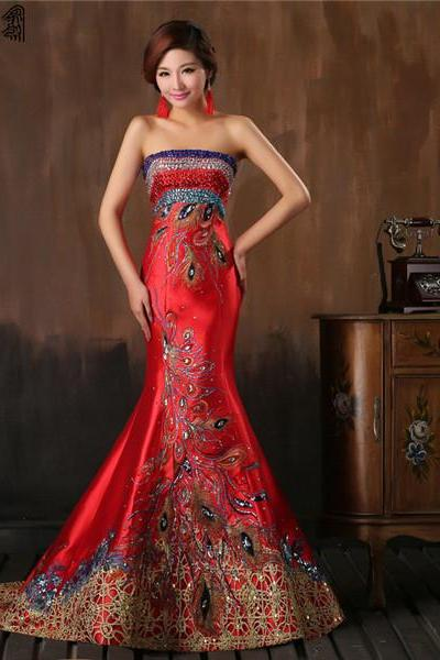 Chic Chinese Style Red Satin Evening Dress With Stones and Pattern Strapless Mermaid Women Formal Gown Custom Made