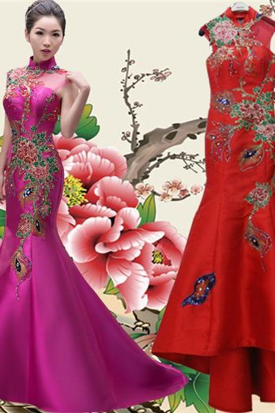 Chinese Style Satin Women Formal Dress With Flower Pattern High Neck Laced-up Back Mermaid Evening Gown in Red Fuchsia Custom Made
