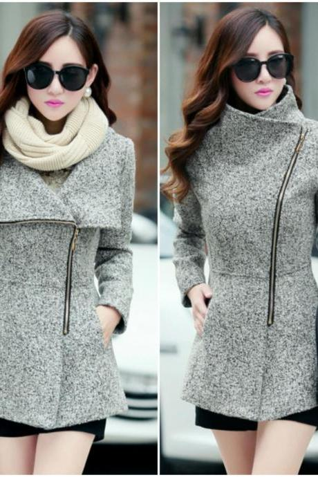 Light Grey Woolen Winter Coat