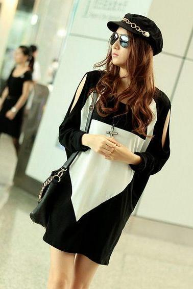 Off Shoulder Black Loose Shirt
