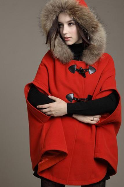 Red Orange Faux Fur Design Fashion Coat