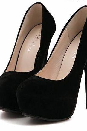 Black Faux Suede Rounded-Toe Platform High Heel Stilettos