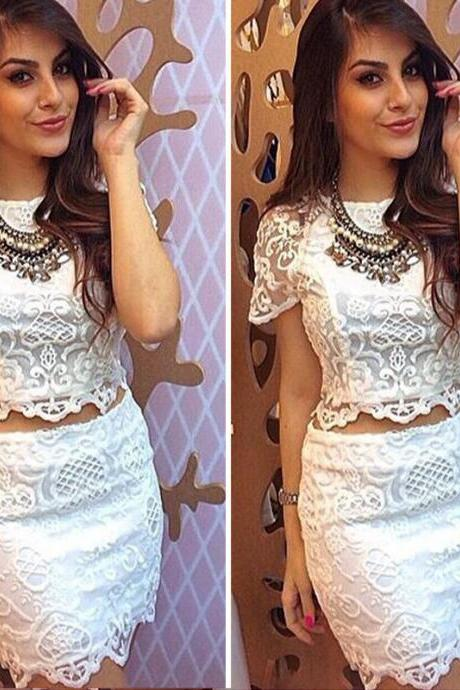 SEXY WHITE LACE SHORT DRESS SHIRT ( TWO-PIECE ) QZ1027A