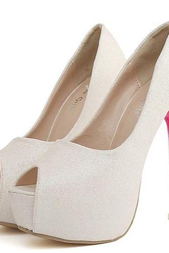 White Glitter Open-Toe Platform Gradient High Heel Stilettos