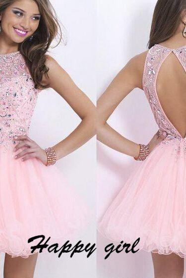 Short Prom Dresses, Beading Prom Dresses, Backless Prom Dresses, Scoop Prom Dresses, Pink Prom Dresses, Evening Dresses, Party Dresses, Custom Dresses