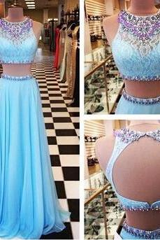 Ulass Beading Prom Dresses,A-Line Floor-Length Prom Dresses,Two-Pieces Prom Dresses Prom Dresses, Charming Backless Evening Dresses,
