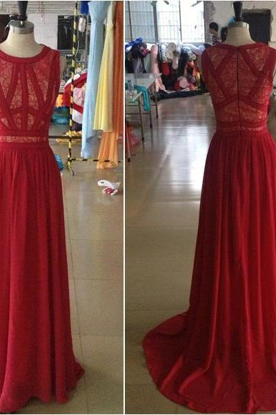 Ulass Charming Red Evening Dress,Prom Dress For Prom, O-Neck Prom Dress,Sleeveless Prom Dress,Dresses For Evening,