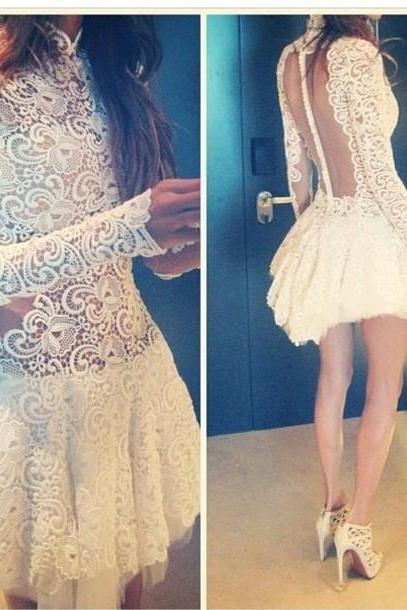 CROCHET LACE LONG-SLEEVED DRESS QZ1027DB
