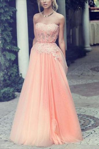 Ulass Appliques Floor-Length Prom Dresses, Sweetheart Prom Dresses, Chiffon And Tulle Prom Dresses, Evening Dresses, Evening Dresses On Sale