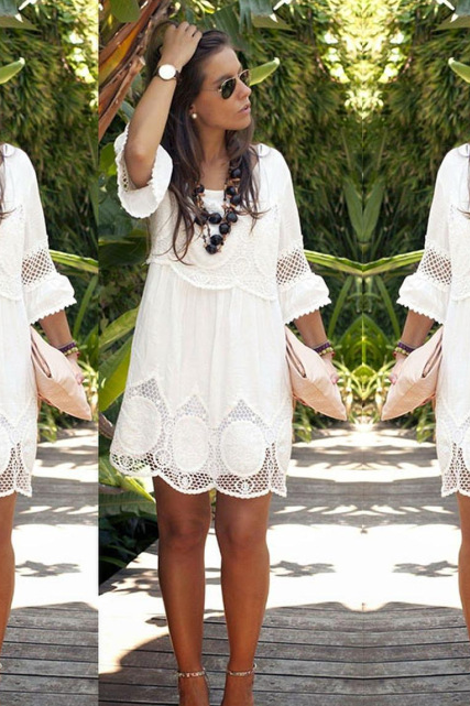 Seven round collar hollow lace sleeve dress MS