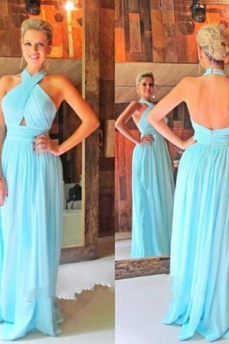 Sexy Halter Neckline Open Back Prom Dress,Long Backless Evening Dress,Blue Party Dress